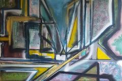 Square Trees & Triangles of Paris 100 x 100cm